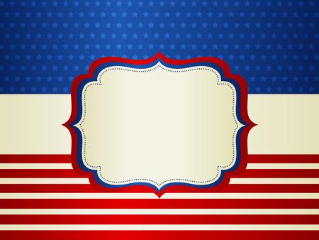 american poster:  EE.UU. barras y estrellas marco patri�tico americano con el espacio vac�o en el centro de un dise�o del cartel de American Vintage tradicional