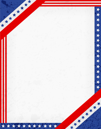 patriotic border: Stars and stripes corners on grunge background. USA patriotic frame design