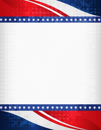 theme: American  USA grunge halftone dotted patriotic frame with ribbon banner  on top and bottom as header and footer. A traditional vintage american poster design