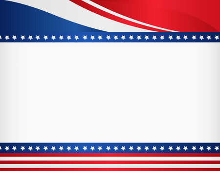 patriotic border: American  USA patriotic frame with empty space on center A traditional vintage american poster design Illustration
