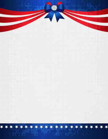 American  USA grunge patriotic frame with ribbon banner and bow with crystal on top. A traditional vintage american poster design Vector