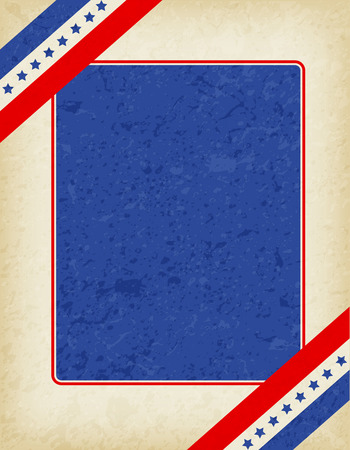 national border: American  USA grunge patriotic frame with ribbon banner on corners. A traditional vintage american poster design Illustration