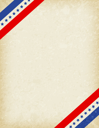Stars and stripes corners on grunge background. USA patriotic frame design Vector