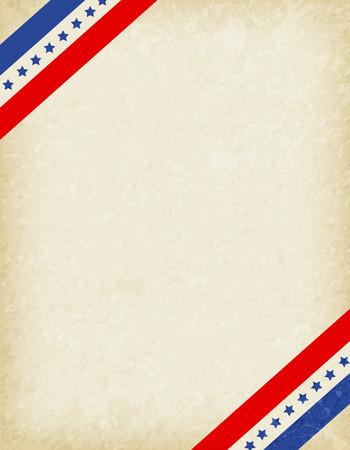 patriotic border: Stars and stripes corners on grunge background. USA patriotic frame design