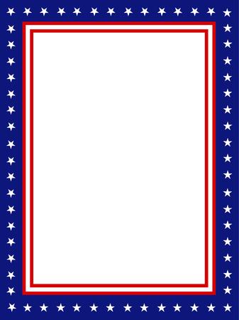 julio: Barras y estrellas patrióticas azules y rojos borde de página  diseño del marco