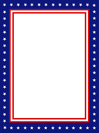 july: Blue and red patriotic stars and stripes page  border  frame design