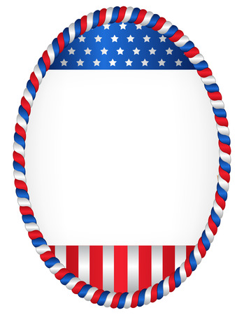 patriotic border: Red and blue oval American flag border  frame isolated on white Illustration
