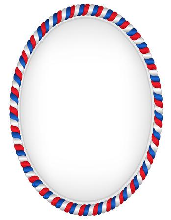 Rode en blauwe ovaal kader represantating USA vlag kleuren