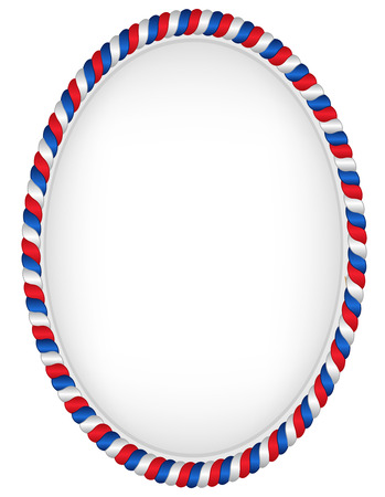 Red and blue oval frame represantating USA flag colors