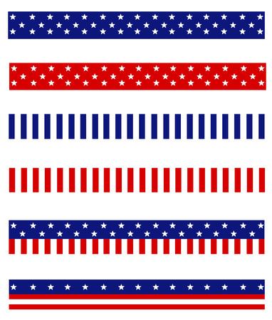 青と赤の愛国心が強い星とストライプのコレクション フレームの背景仕切りのページ  イラスト・ベクター素材