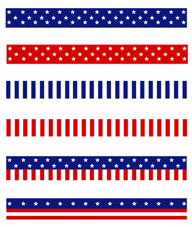 patriotic border: Collection of Blue and red patriotic stars and stripes background frames  page dividers Illustration