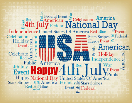 tagcloud: USA patriotic 4th of July word cloud  tagcloud on brown grunge halftone background