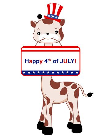 Illustration of a cute giraffe with a patriotic hat and notice on its mouth Vector