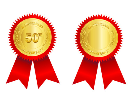 succeeding: Isolated illustration of a gold seal and red ribbon with 50th anniversary text on it and empty space to add your own text inside. Illustration