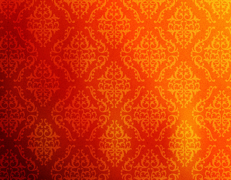 background decorative: Red and orange abstract damask pattern background  decorative wallpaper Illustration