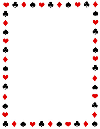 Black and red poker playing cards border. ace frame with empty space on center Ilustrace