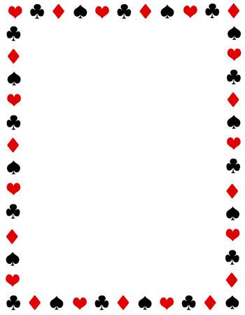 Zwart en rood poker speelkaarten grens. ace frame met lege ruimte op het centrum