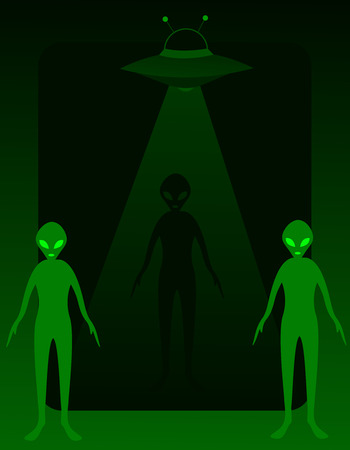 ufology: Aliens with UFO background  frame design