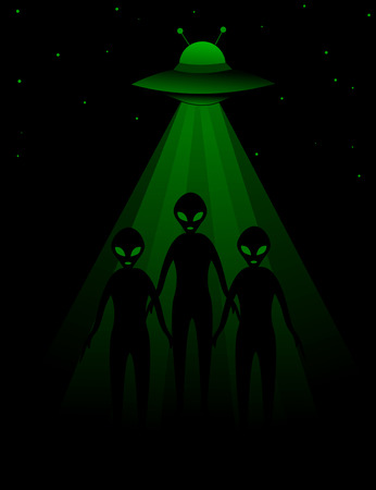 ufology: Aliens with UFO dark background Illustration
