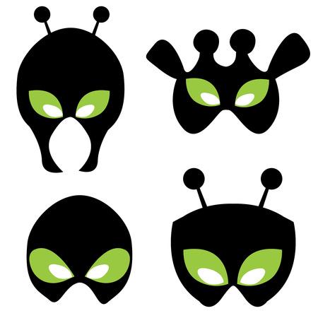 ufology: Volti Alien illustrazioni isolato su sfondo bianco. pu� essere stampare e utilizzare maschere come divertenti per i bambini