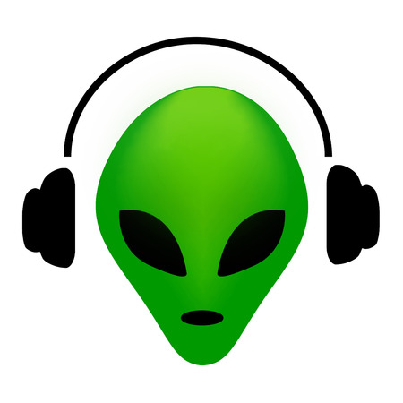invasion: Green alien face wearing  earphone.. music lover alien clipart isolated in white Illustration