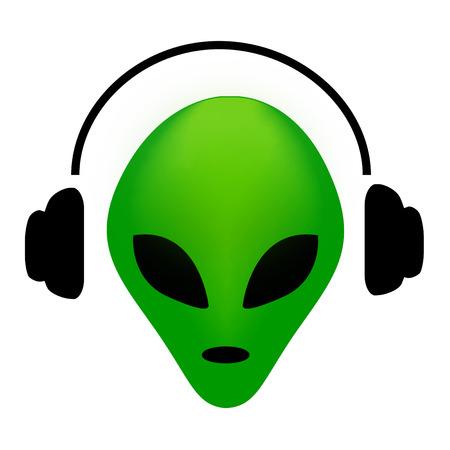 ufology: Verde straniero volto indossando auricolare .. amante della musica clipart alieno isolato in bianco Vettoriali