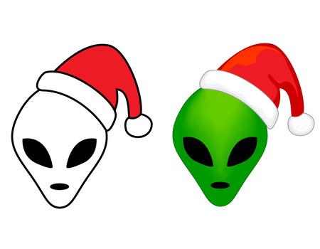 ufology: Alien faccia illustrazione che indossa cappello santa appositamente per Natale x mas stagione Vettoriali