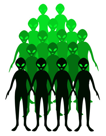 ufology: Group of green aliens illustrations isolated on white background.