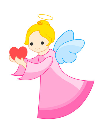 Angel  little fairy with a red heart in her hand illustration isolated on white.