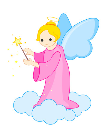angelical: Cute angel little fairy with a magic wand in her hand  illustration isolated on white background Illustration