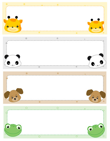 Colorful kids name tags with cute animal faces on corners Stock Illustratie