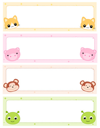 my name is: Colorful kids name tags with cute animal faces on corners Illustration