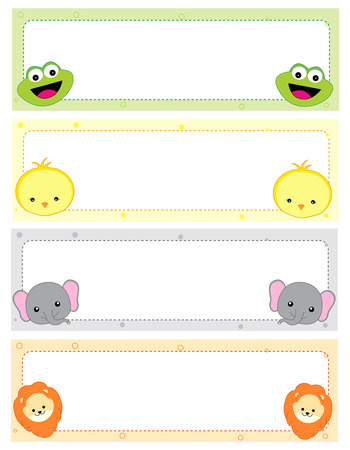 Cute animal kids name tags with beautiful animal faces on corners Stock Illustratie