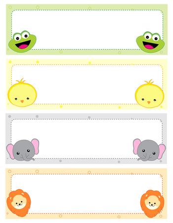 Schattige dieren kids naamplaatjes met prachtige dieren gezichten op de hoeken