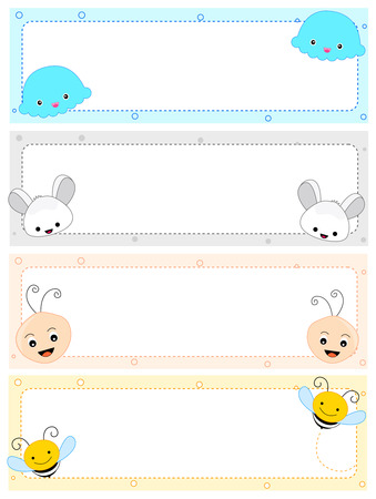 Colorful kids name tag frames with cute animal faces on corners Vector