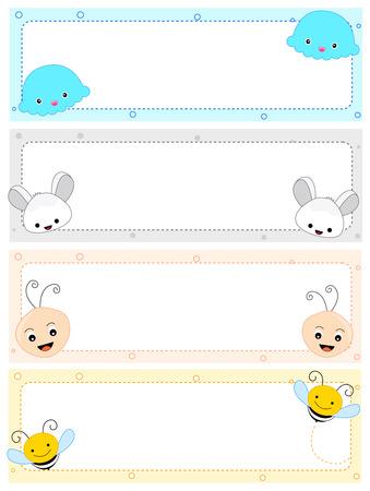 Kleurrijke kinderen naamplaatje frames met schattige dieren gezichten op de hoeken