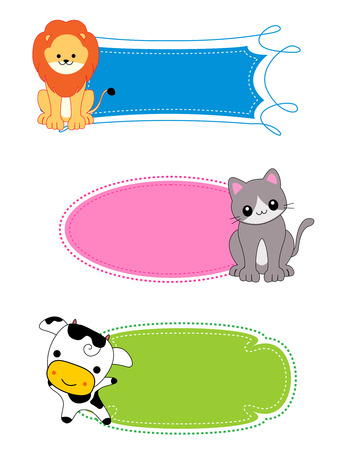 name: Colorful kids name tags  labels  frame with cute animals on corners Illustration