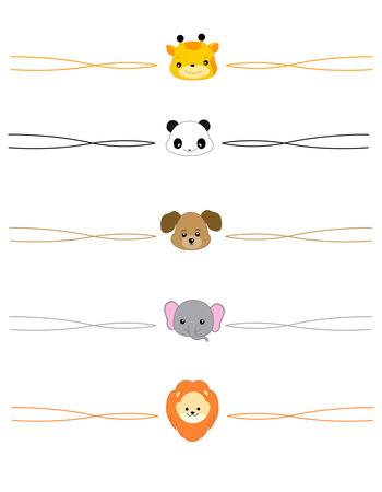 devider: Colorful devider set with cute animal faces Illustration