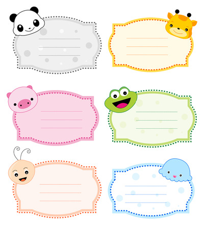 printable: Colorful kids name tags with cute animal faces on corners Illustration