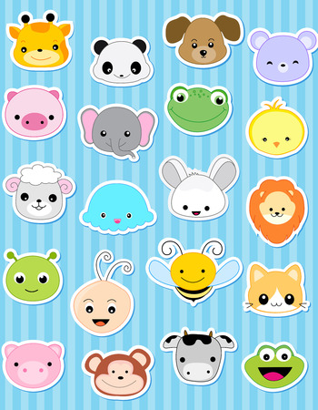 cartoon animal: Cute animal face sticker collection specially for kids
