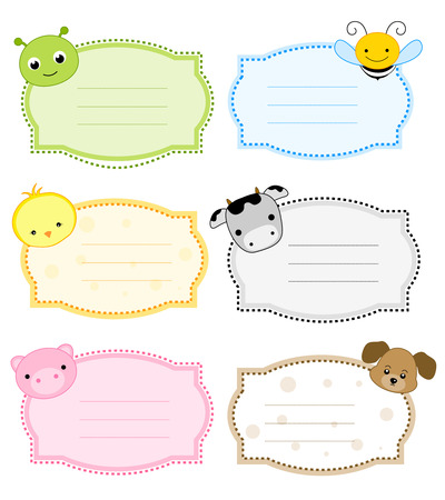 Colorful kids name tags labels  with cute animal faces on corners Vector