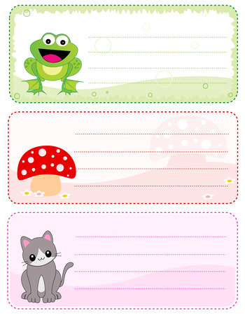 name: Cute and colorful kids name tags isolated on white Illustration