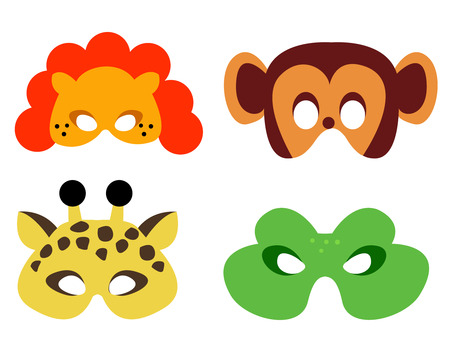 dangerous lion: Collection of animal masks with animal faces. Ready to print and wear Illustration