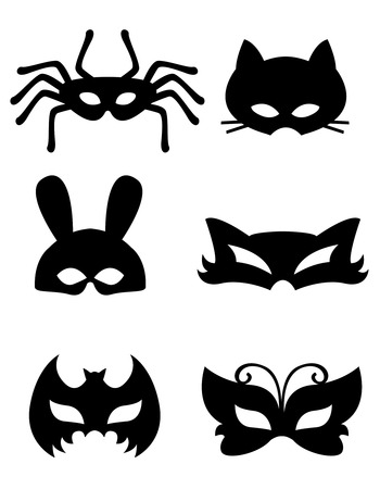 black fox: Collection of animal masks with animal faces. Ready to print and wear Illustration