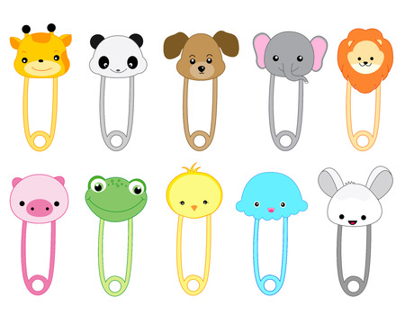 Cute animal safety pin collection with colorful animal heads