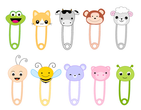 clothes pins: Cute safetu pin collection with animal faces isolated on white.