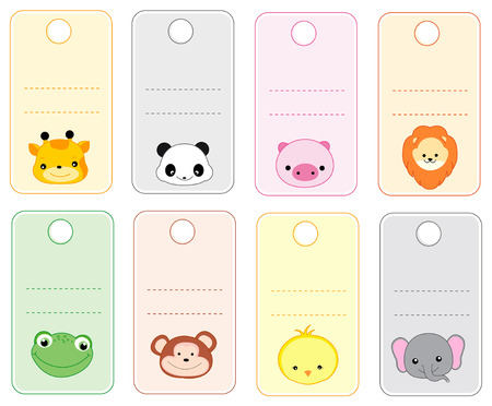 name tag: Colorful printable gift tags  name tags with cute animal faces isolated on white