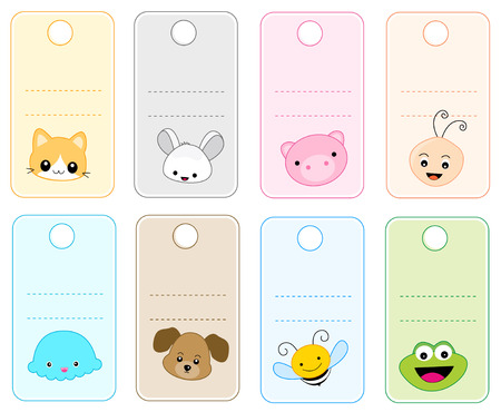 Colorful gift tags  name tags with cute animal faces isolated on white