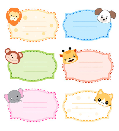 name tag: Colorful kids name tags labels  with cute animal faces on corners