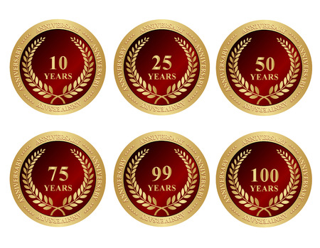 twenty fifth: 10th, 25th, 50th, 75th, 99th and 100 anniversary seals with golden laurel and text